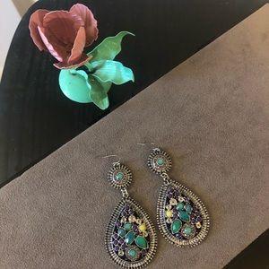 5/$15 SALE Green Drop Dangling Fish Hook Earrings